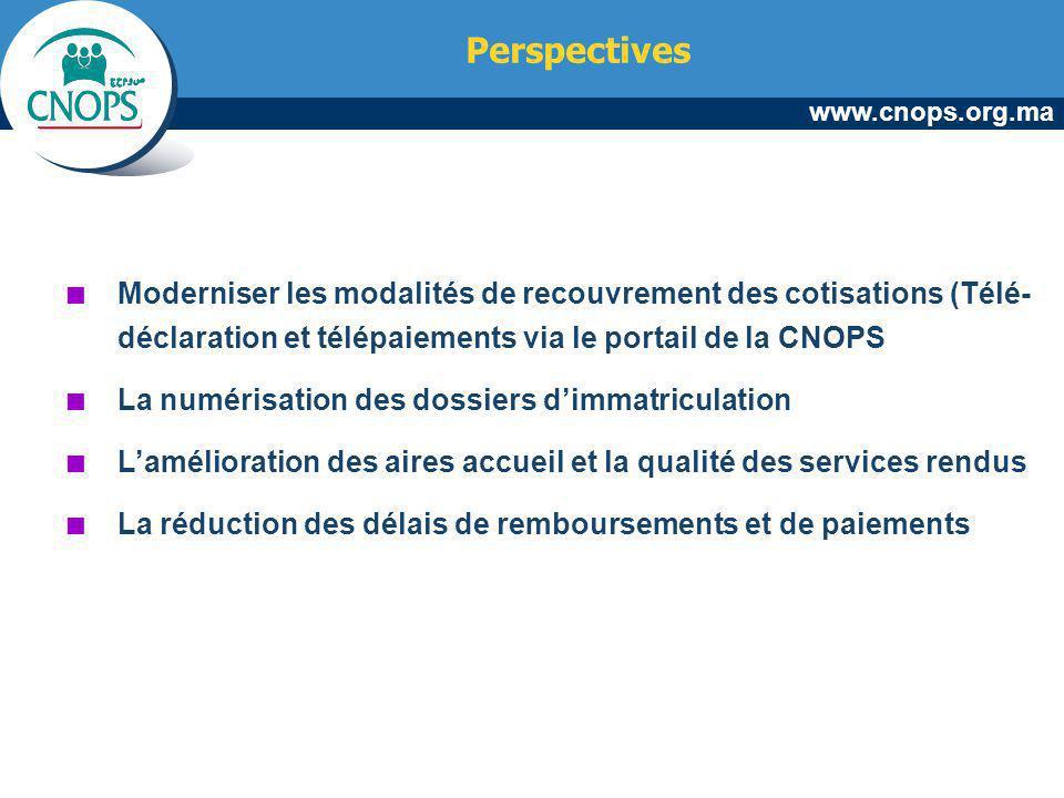 Perspectives Moderniser les modalités de recouvrement des cotisations (Télé-déclaration et télépaiements via le portail de la CNOPS.