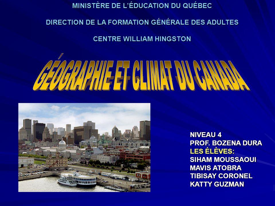 GÉOGRAPHIE ET CLIMAT DU CANADA