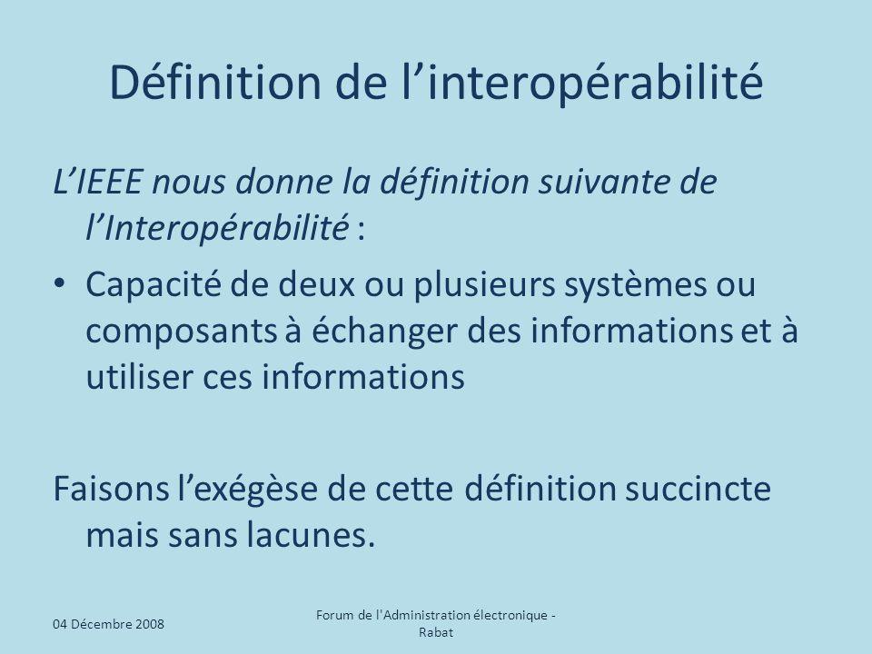 Définition de l'interopérabilité