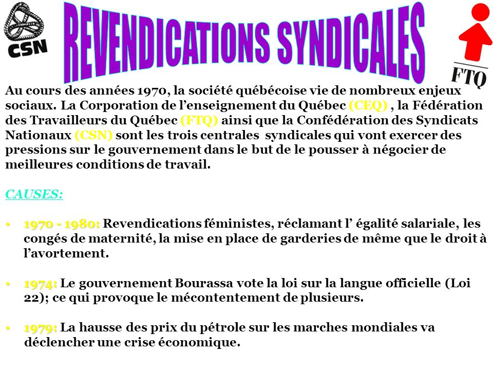 REVENDICATIONS SYNDICALES