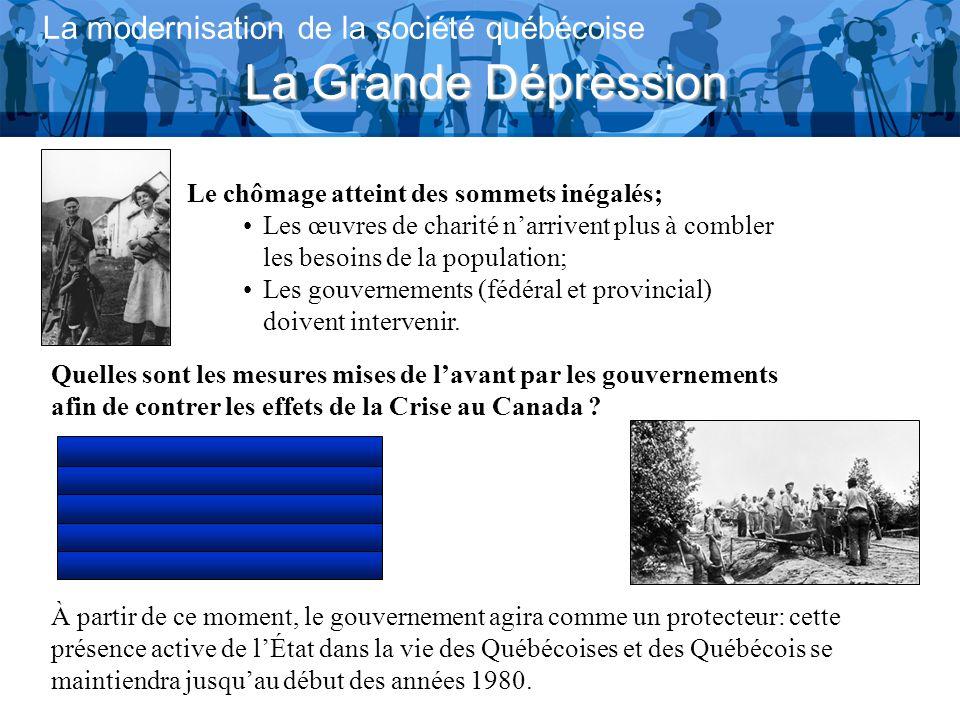 La Grande Dépression La modernisation de la société québécoise