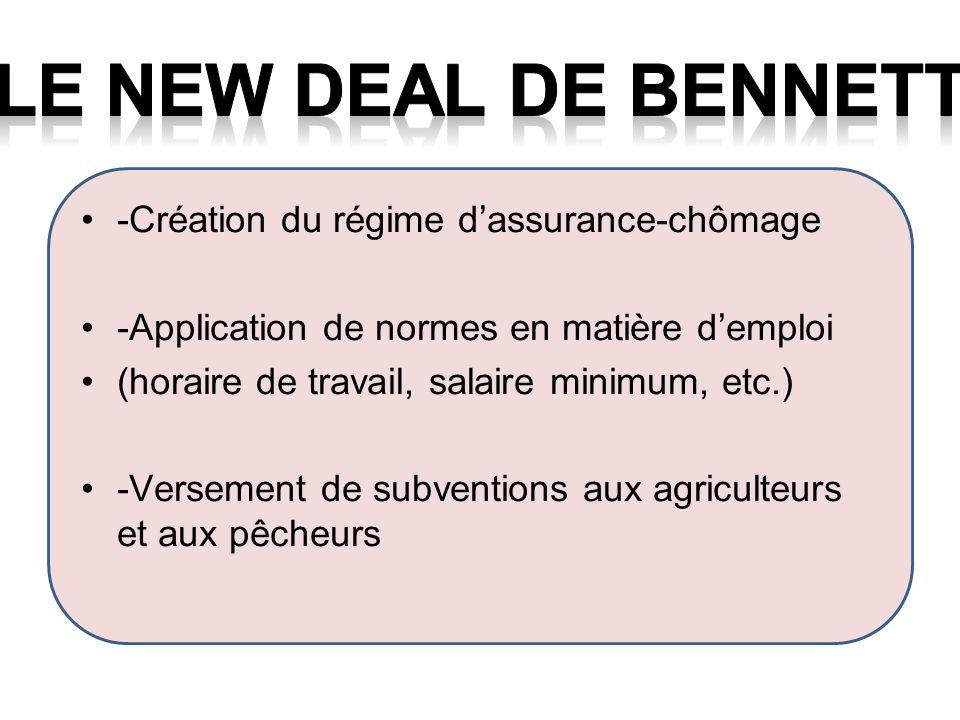 LE new deal de bennett -Création du régime d'assurance-chômage