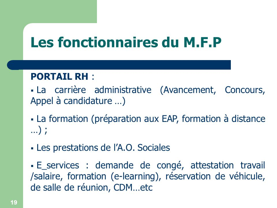 Les fonctionnaires du M.F.P