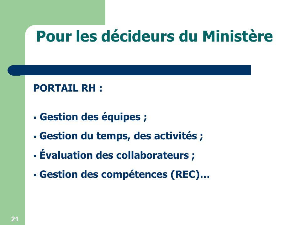 Pour les décideurs du Ministère