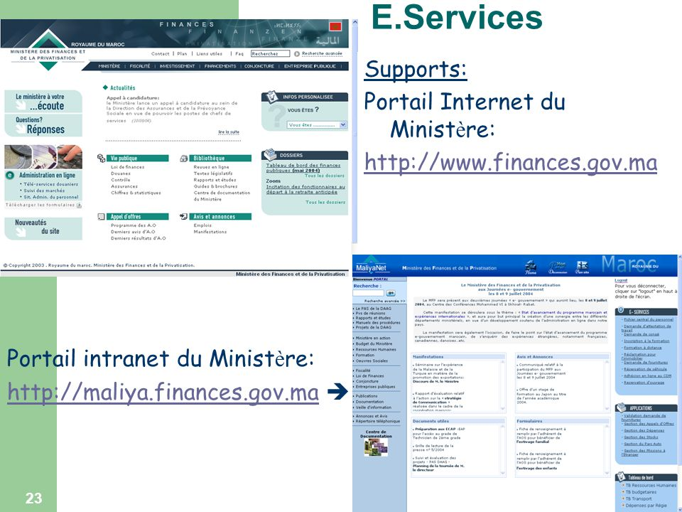 E.Services Supports: Portail Internet du Ministère: