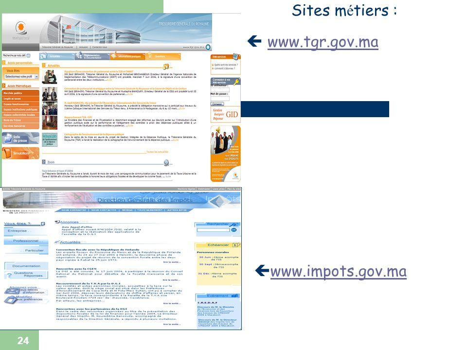 Sites métiers :  www.tgr.gov.ma www.impots.gov.ma