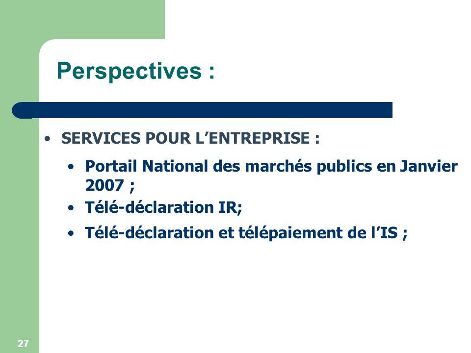Perspectives : SERVICES POUR L'ENTREPRISE :