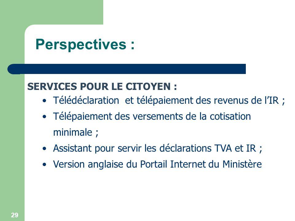 Perspectives : SERVICES POUR LE CITOYEN :