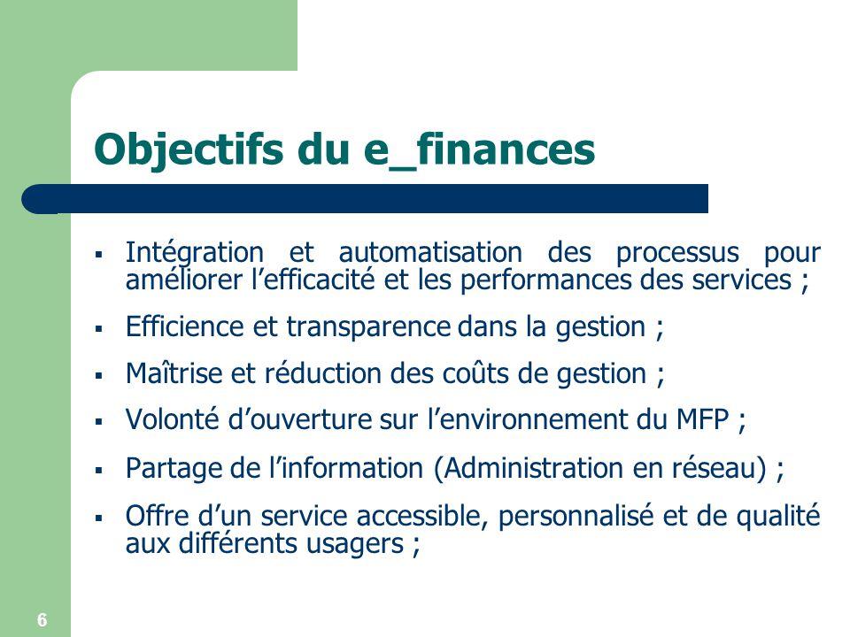 Objectifs du e_finances