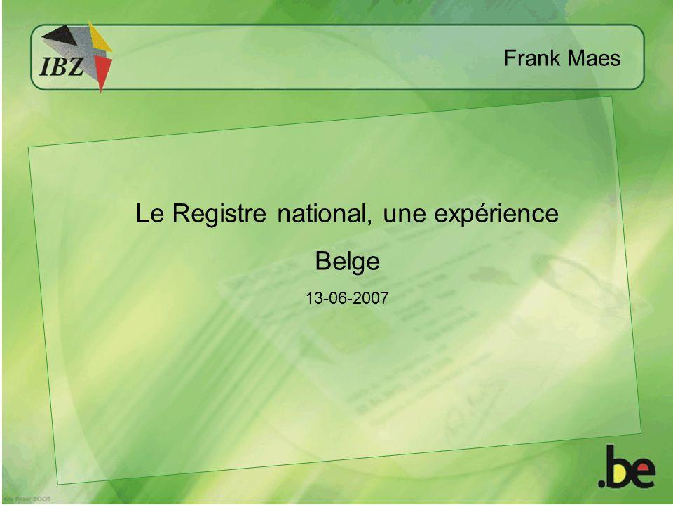Le Registre national, une expérience Belge