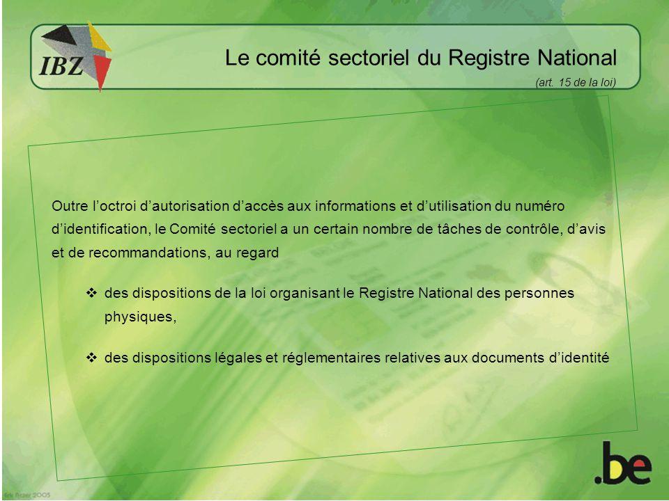 Le comité sectoriel du Registre National
