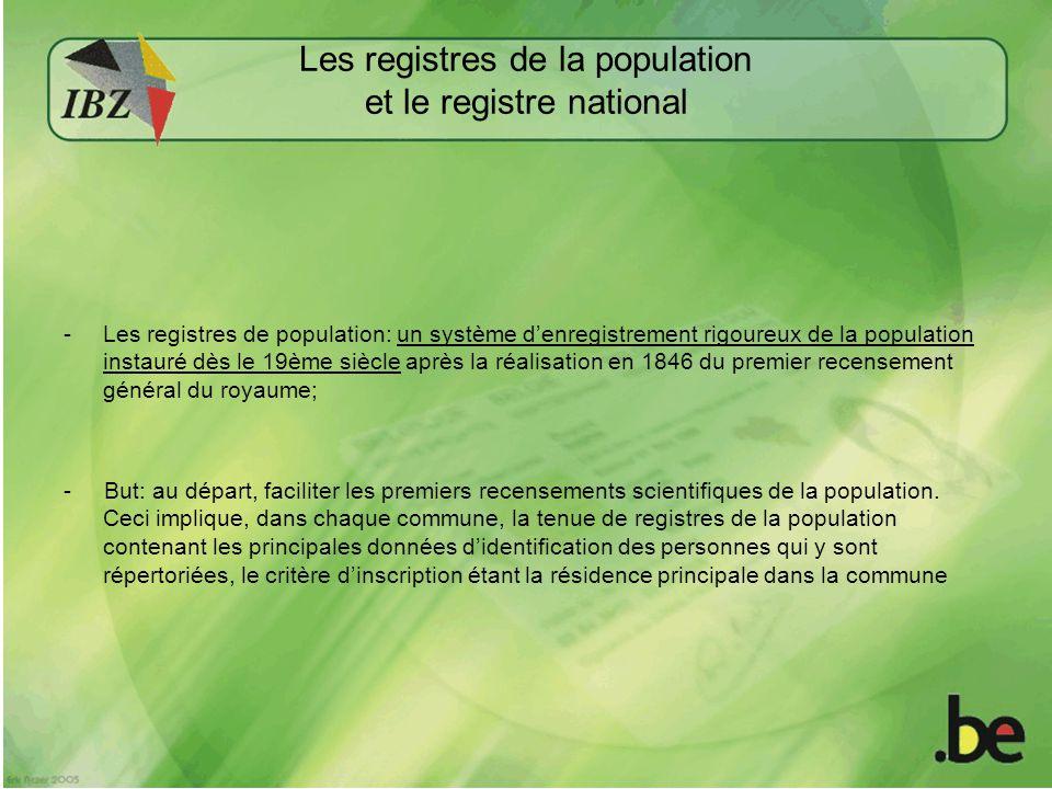 Les registres de la population et le registre national