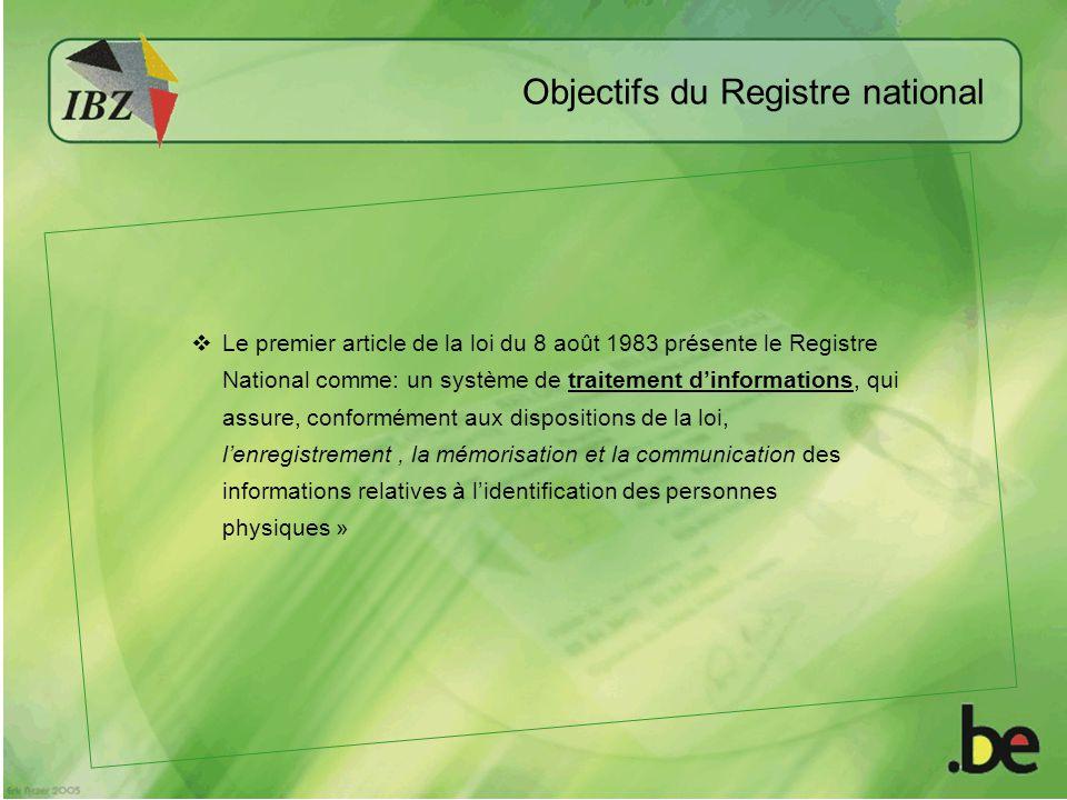 Objectifs du Registre national