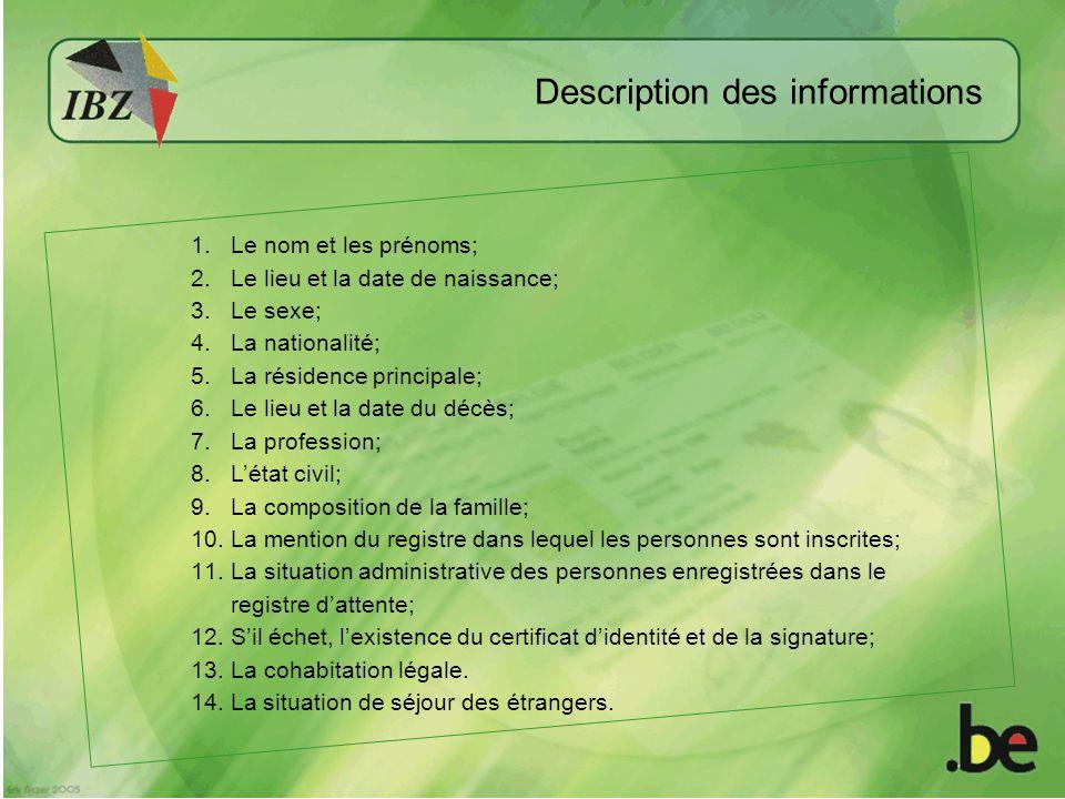 Description des informations