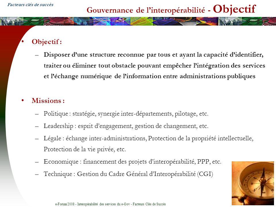 Gouvernance de l'interopérabilité - Objectif