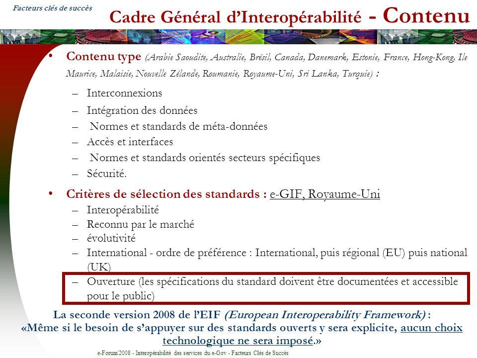 Cadre Général d'Interopérabilité - Contenu