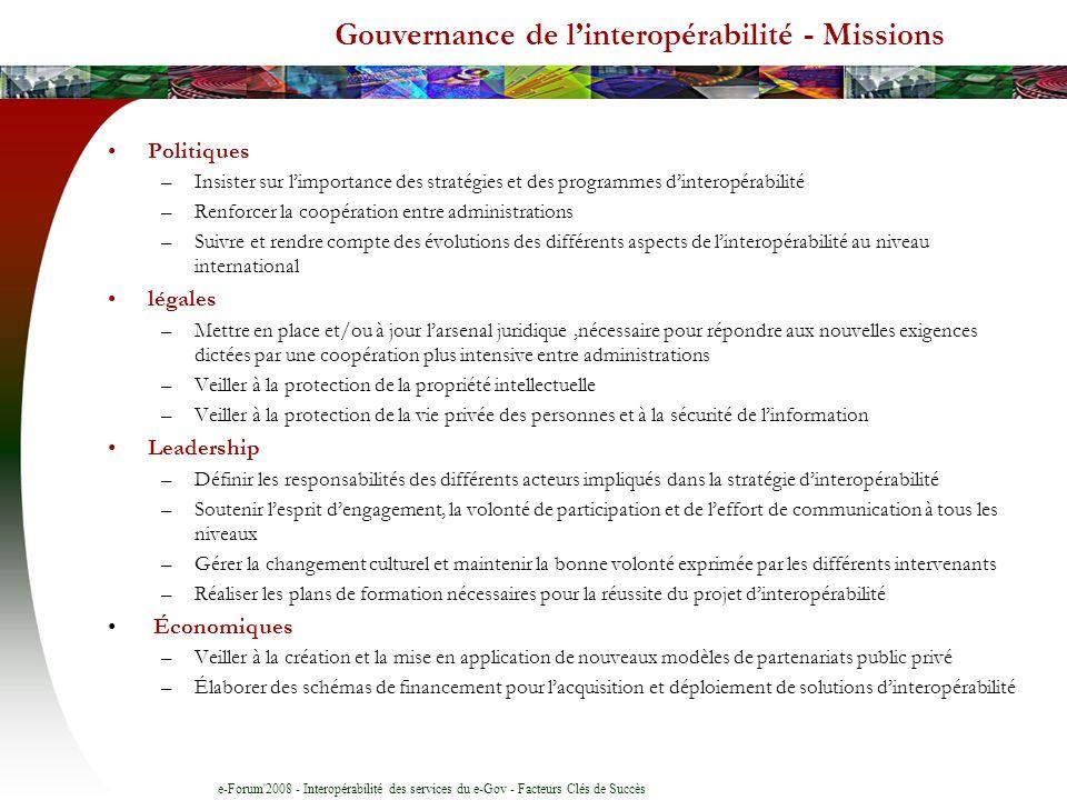 Gouvernance de l'interopérabilité - Missions