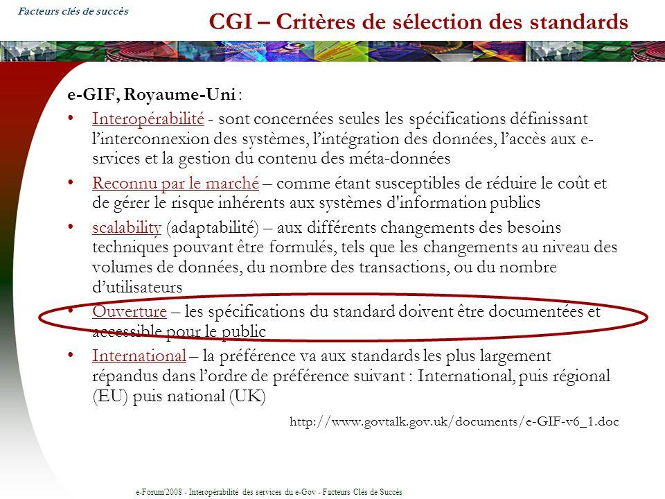 CGI – Critères de sélection des standards