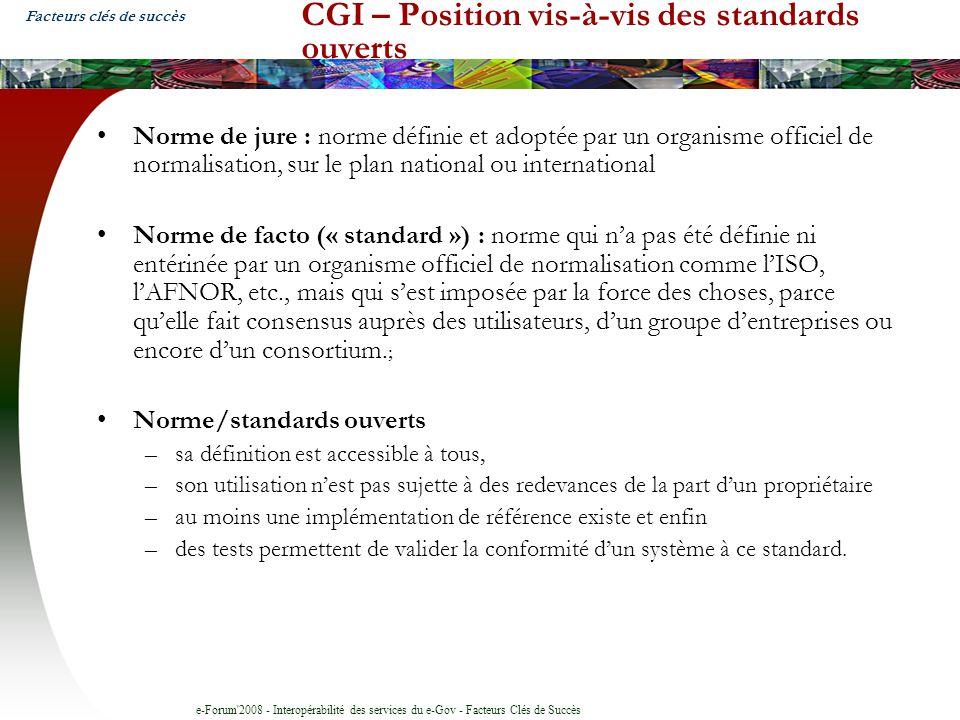 CGI – Position vis-à-vis des standards ouverts