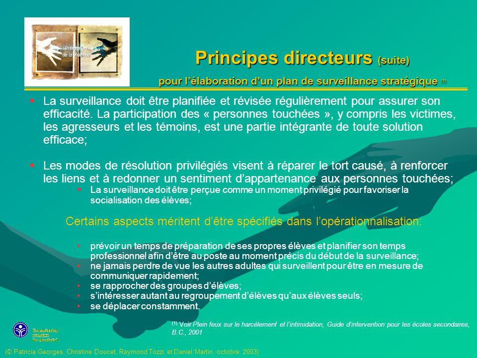 Principes directeurs (suite)