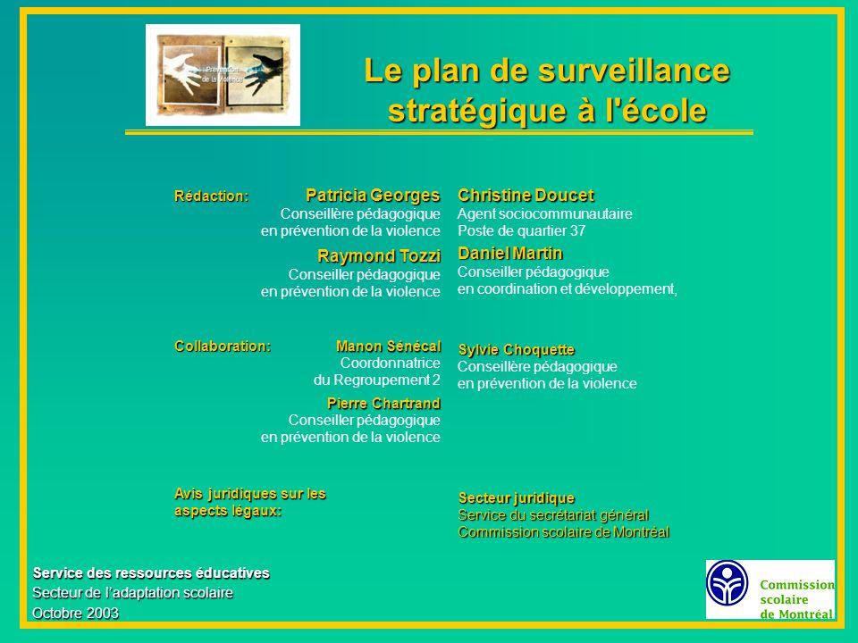 Le plan de surveillance stratégique à l école