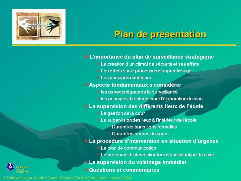 Plan de présentation L'importance du plan de surveillance stratégique