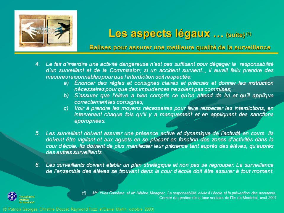 Les aspects légaux … (suite) (1)