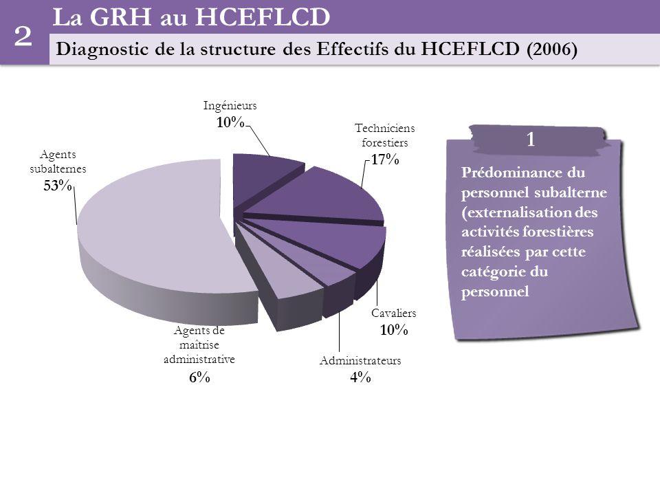 La GRH au HCEFLCD Diagnostic de la structure des Effectifs du HCEFLCD (2006) 2.