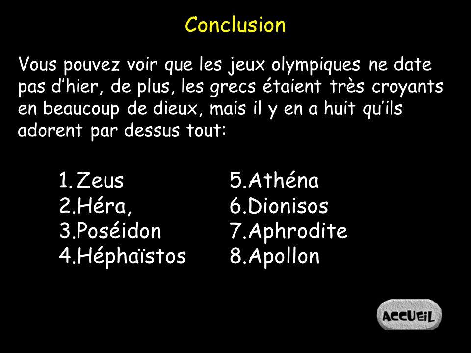 Conclusion Zeus Héra, Poséidon Héphaïstos Athéna Dionisos Aphrodite