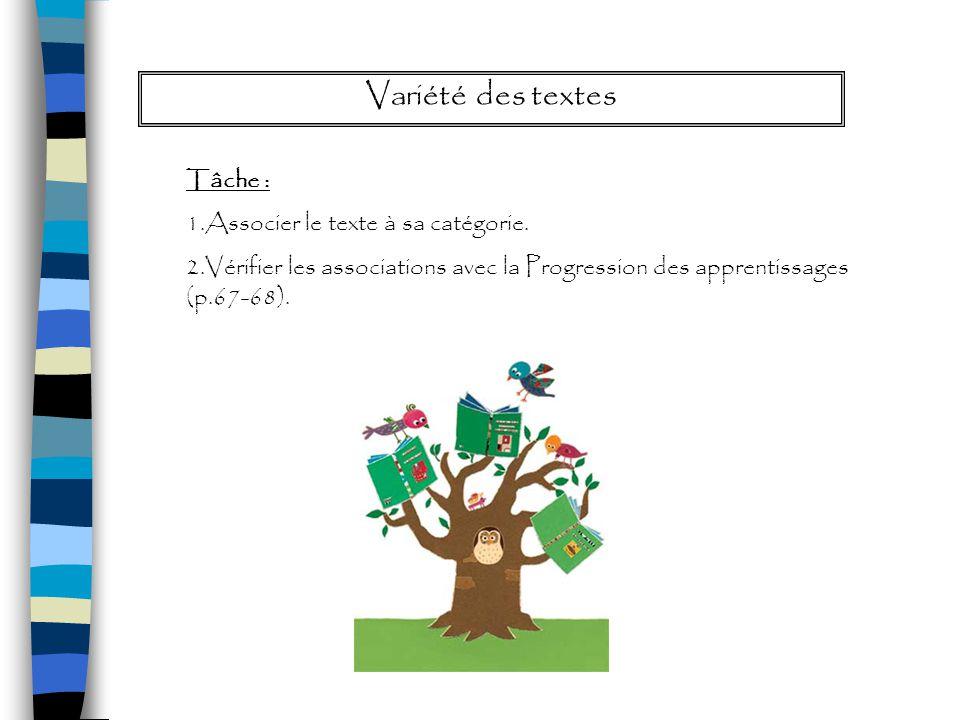 Structure des textes Tâche: