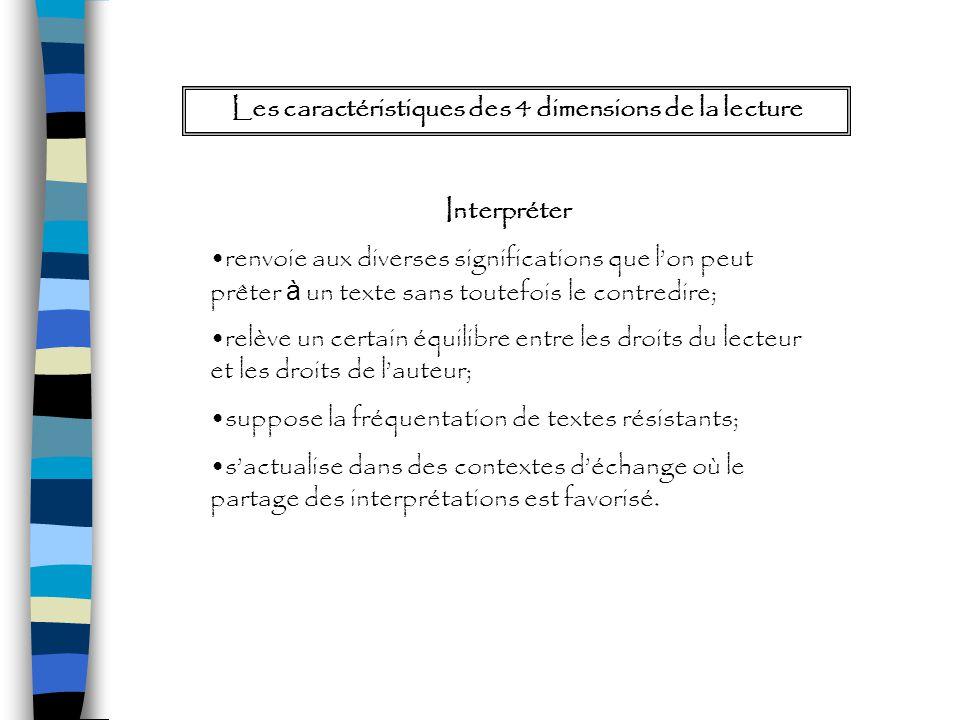 Les caractéristiques des 4 dimensions de la lecture