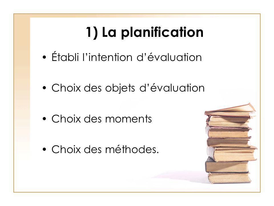 1) La planification Établi l'intention d'évaluation