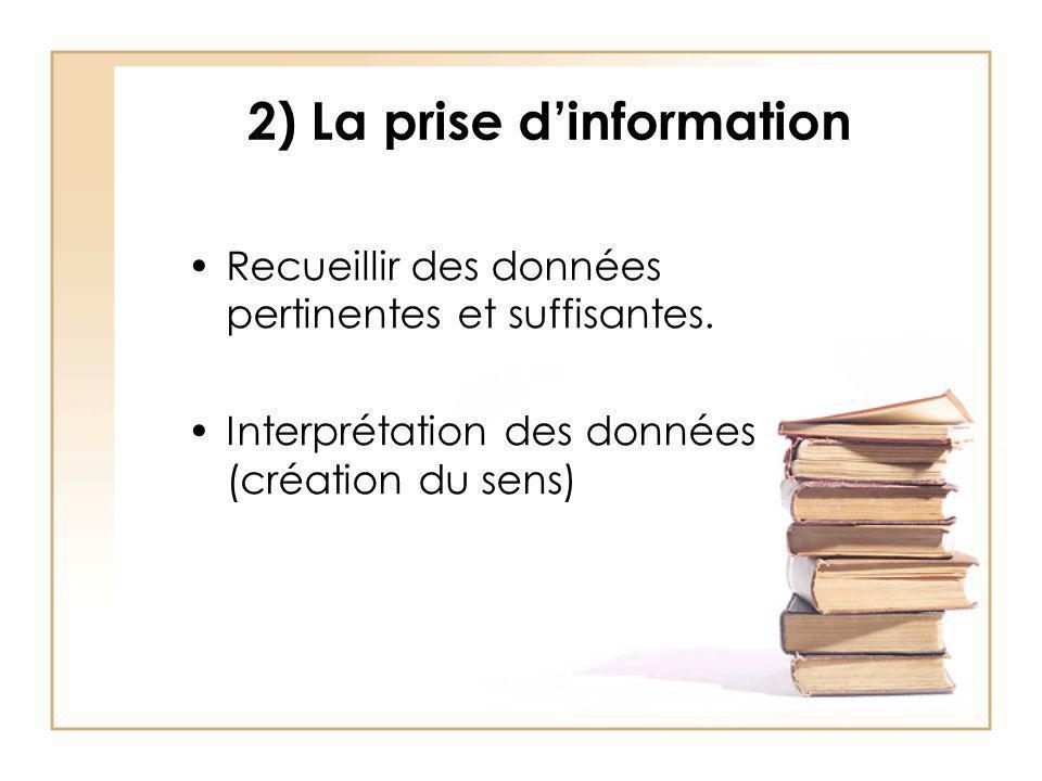 2) La prise d'information