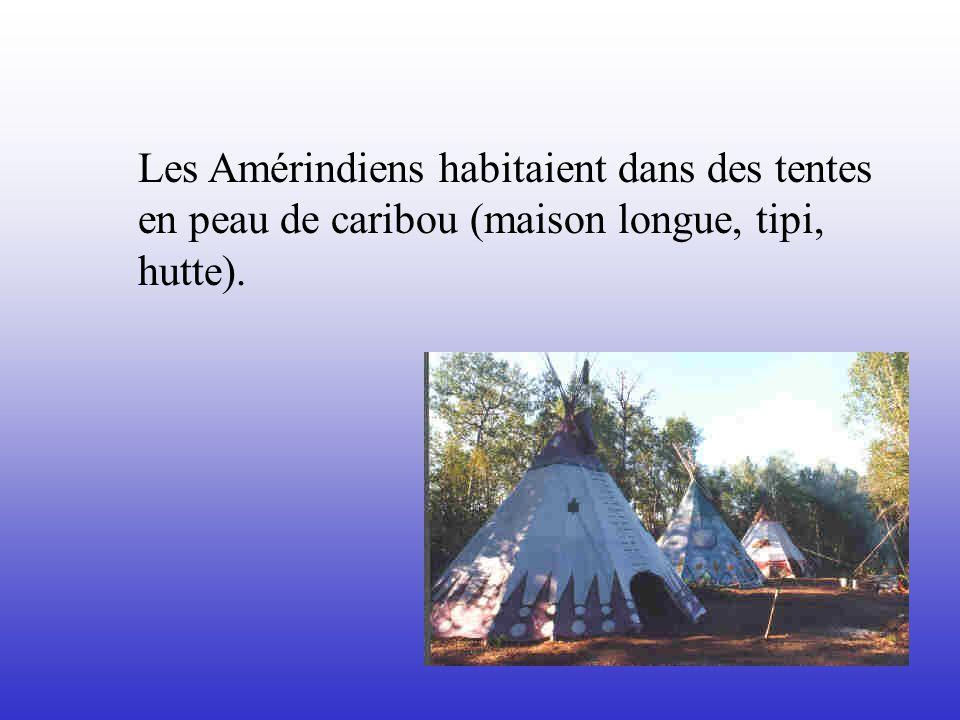 Les Amérindiens habitaient dans des tentes en peau de caribou (maison longue, tipi, hutte).