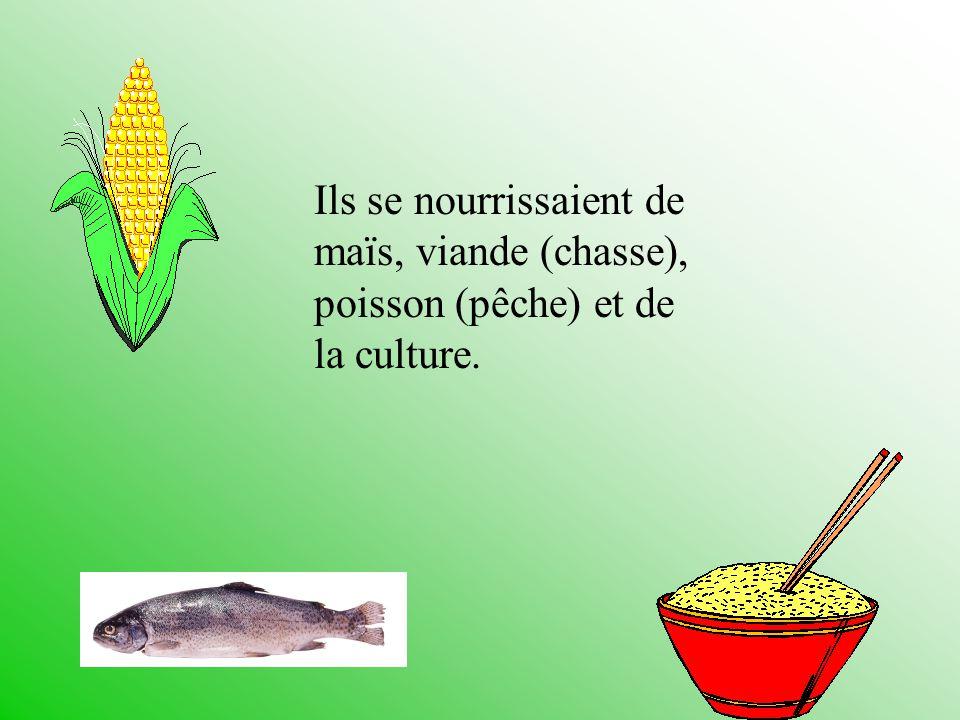 Ils se nourrissaient de maïs, viande (chasse), poisson (pêche) et de la culture.