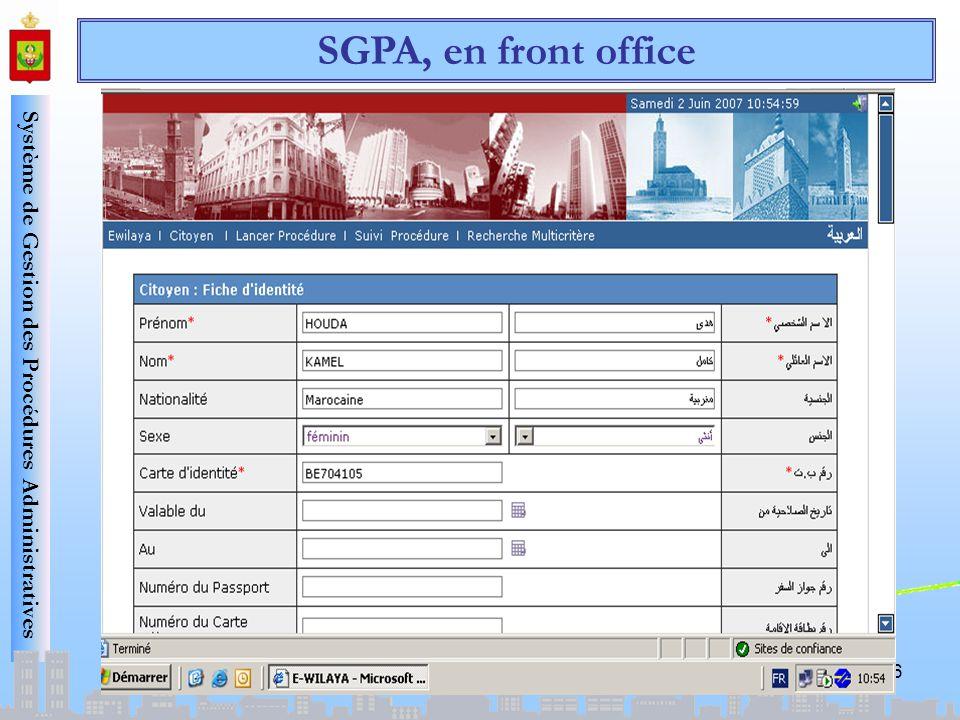 SGPA, en front office