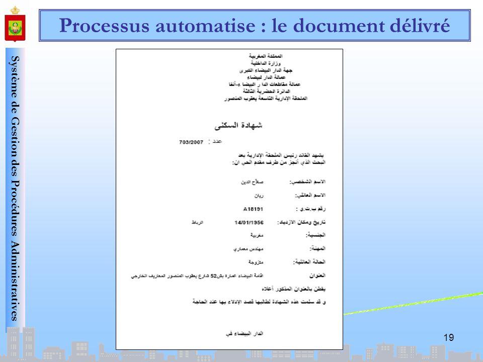 Processus automatise : le document délivré