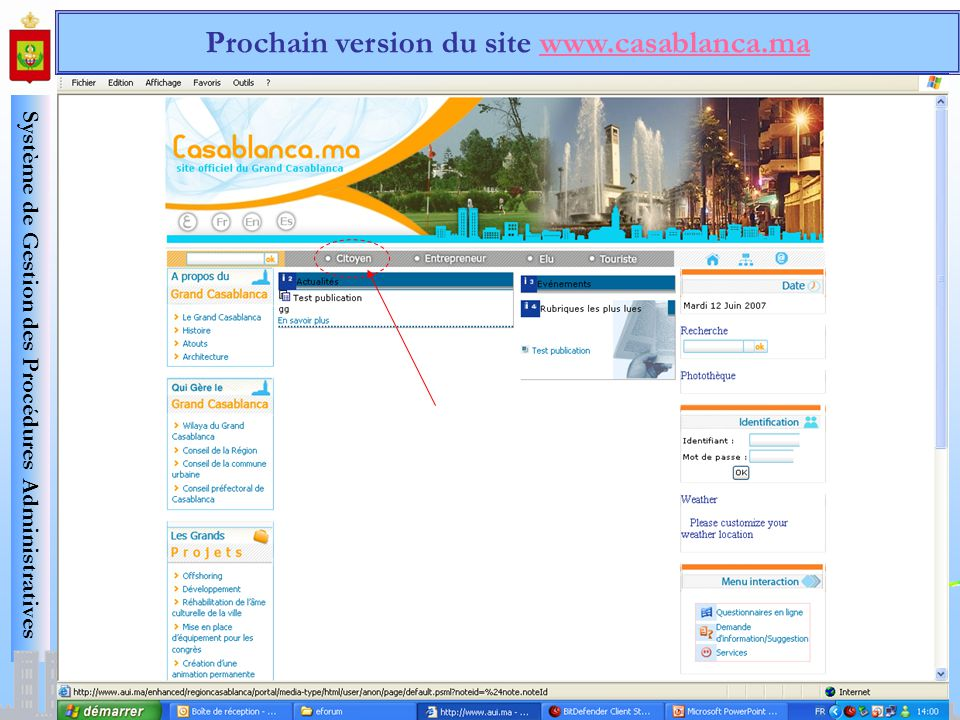 Prochain version du site www.casablanca.ma