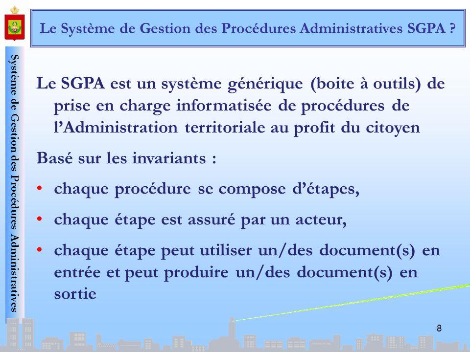 Le Système de Gestion des Procédures Administratives SGPA