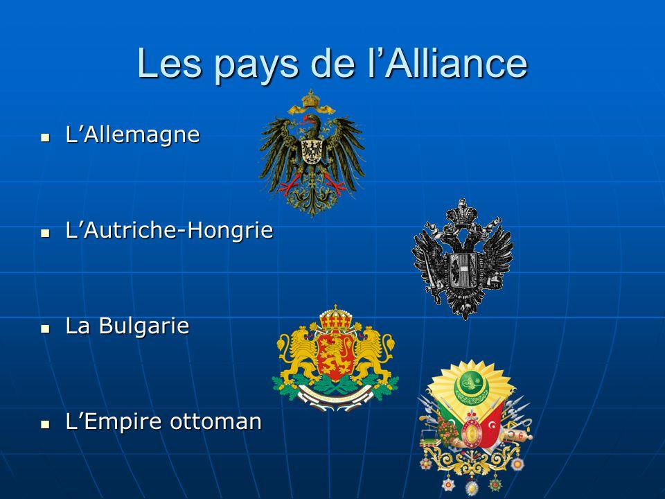Les pays de l'Alliance L'Allemagne L'Autriche-Hongrie La Bulgarie