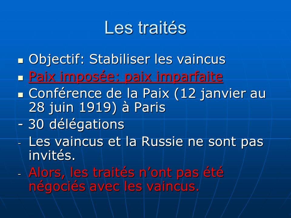 Les traités Objectif: Stabiliser les vaincus