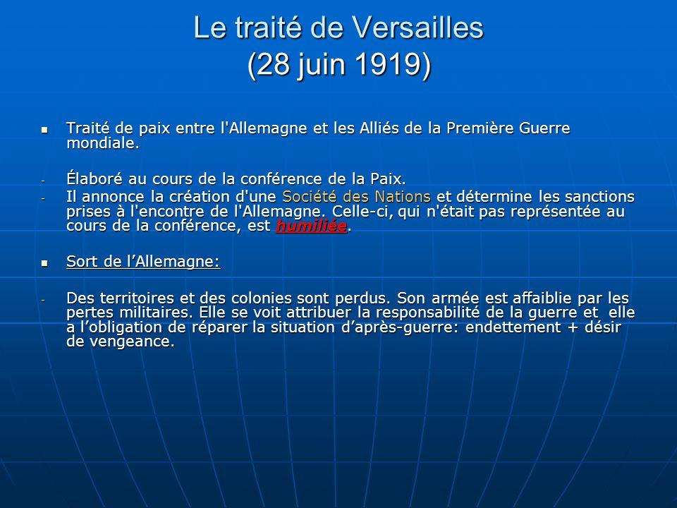 Le traité de Versailles (28 juin 1919)