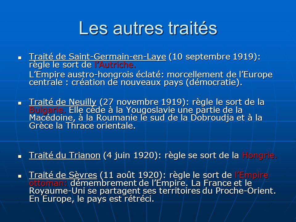 Les autres traités Traité de Saint-Germain-en-Laye (10 septembre 1919): règle le sort de l'Autriche.