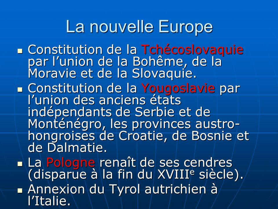 La nouvelle Europe Constitution de la Tchécoslovaquie par l'union de la Bohême, de la Moravie et de la Slovaquie.