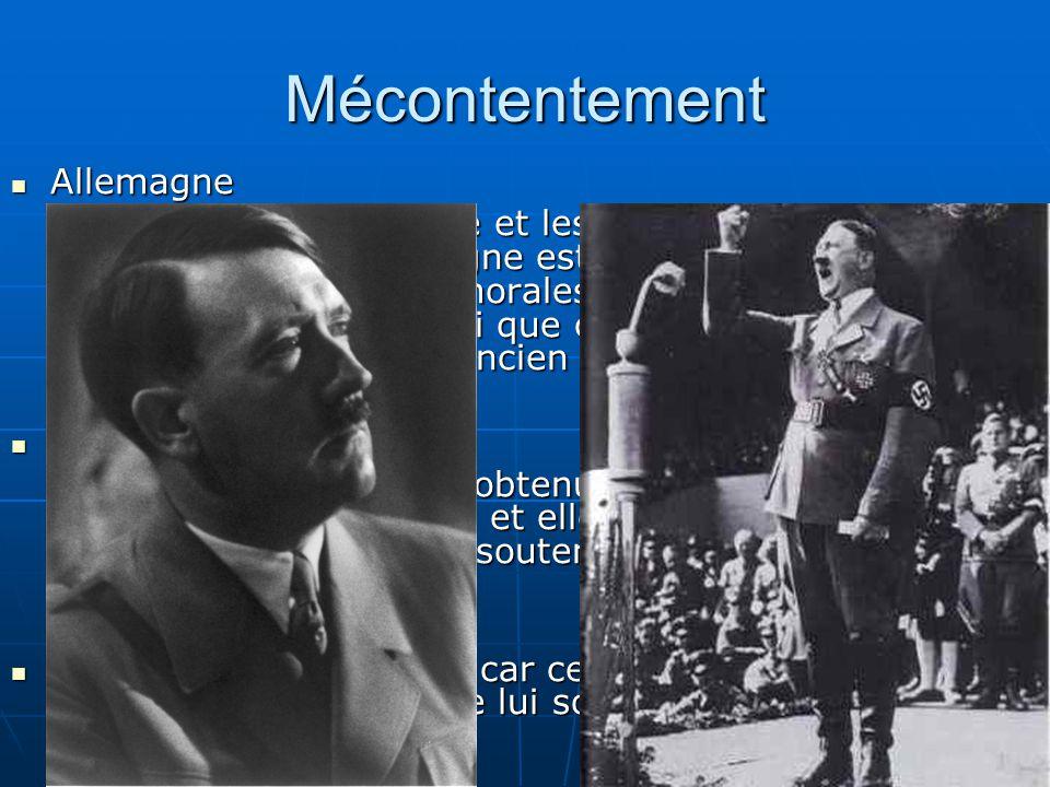 Mécontentement Allemagne