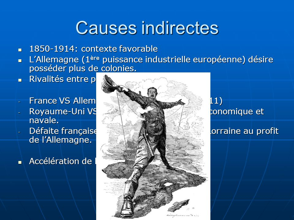 Causes indirectes 1850-1914: contexte favorable