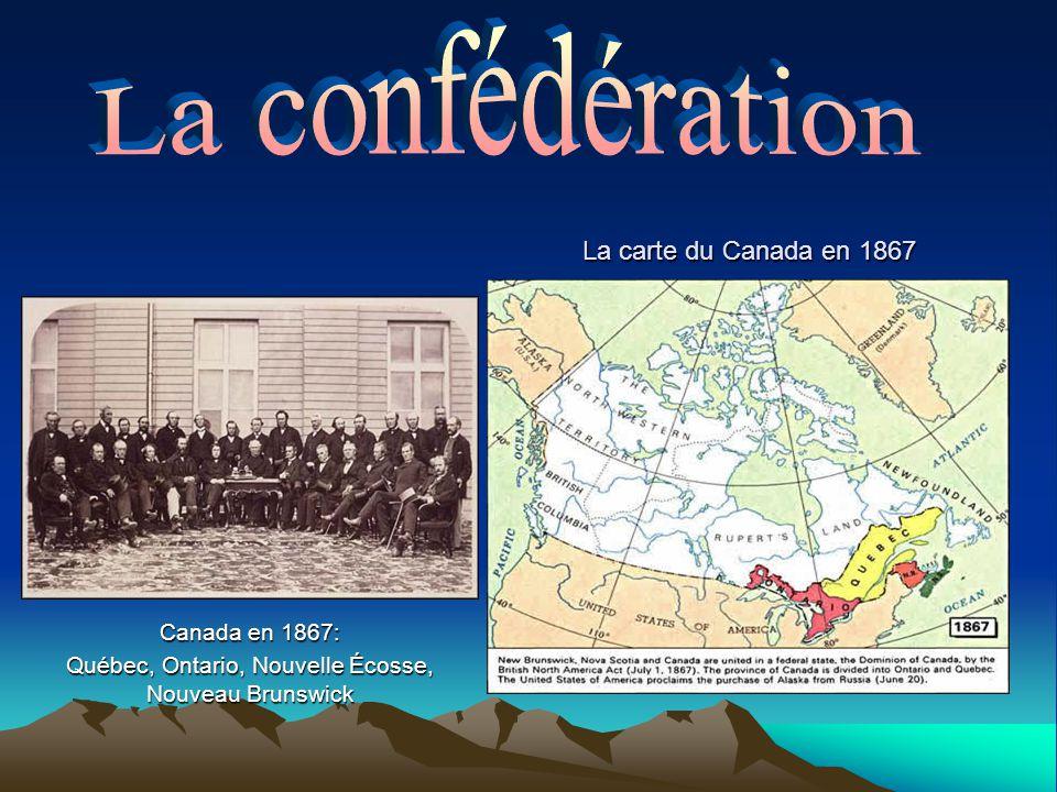 Canada en 1867: Québec, Ontario, Nouvelle Écosse, Nouveau Brunswick