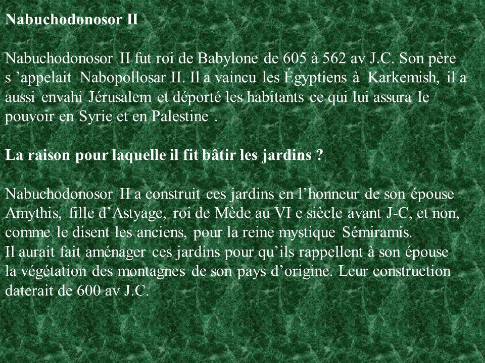 Nabuchodonosor II Nabuchodonosor II fut roi de Babylone de 605 à 562 av J.C. Son père.