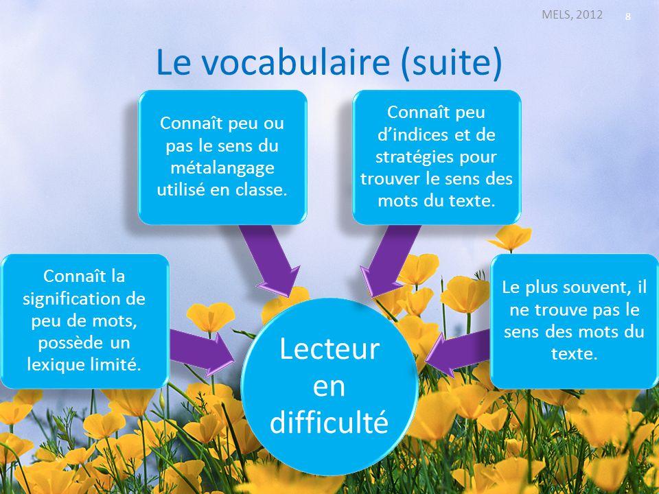 Le vocabulaire (suite)