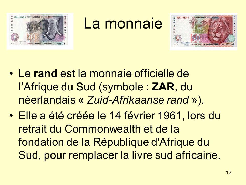 La monnaie Le rand est la monnaie officielle de l'Afrique du Sud (symbole : ZAR, du néerlandais « Zuid-Afrikaanse rand »).